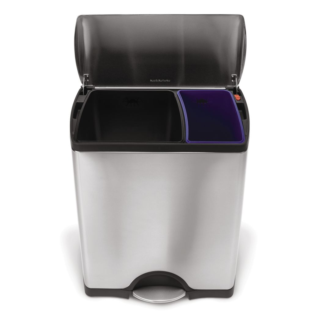 441-679 - simplehuman® 46 L Dual Trash & Recycle Can w/ 4 Mitts, 20 Liners & 50 Bonus Liners