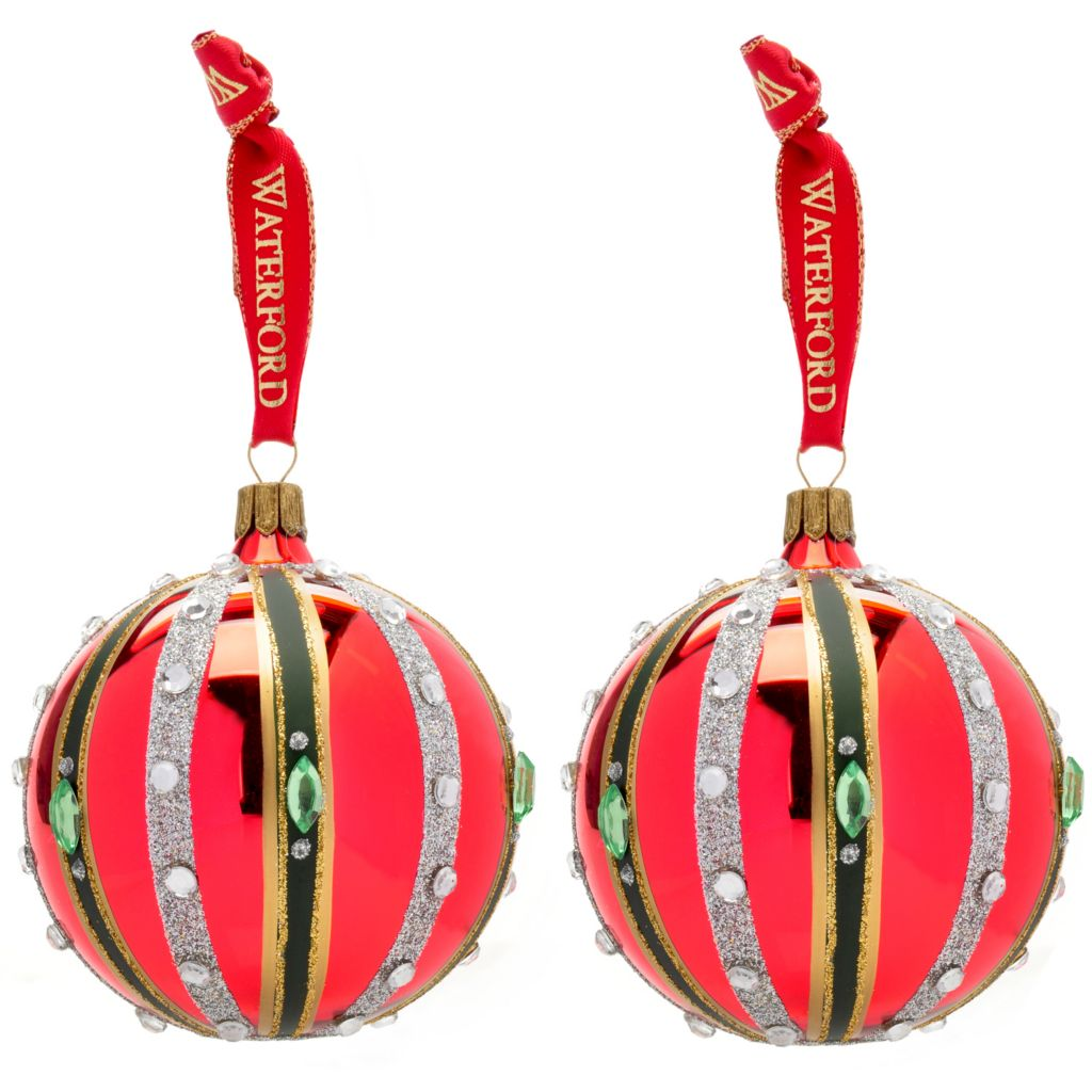 "441-706 -  Waterford® Holiday Heirlooms® Set of Two 3"" Ruby Ball Ornaments"