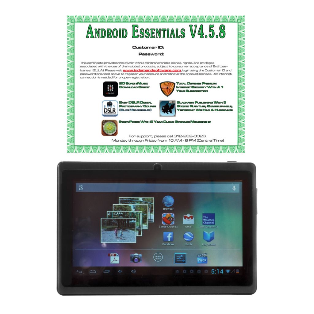"441-712 - 7"" Android™ 4.2 4GB Wi-Fi Tablet w/ Google Play Access & Software"