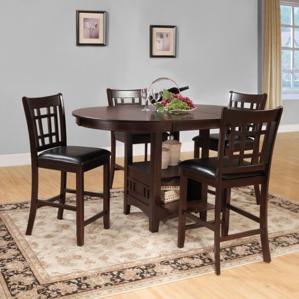 441-720 - Homebasica Cherry-Finished Five-Piece Counter Height Dining Set w/ Under-Table Storage