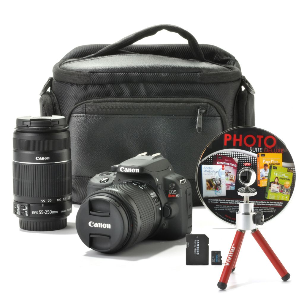 441-727 - Canon EOS SL1 18MP DSLR Camera w/ Two IS Lenses, Bag, 32GB SD Card & 4-Title Software