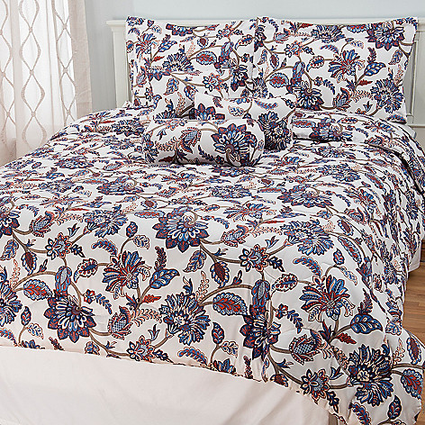 441-736 - North Shore Linens™ 300TC Cotton Floral Sateen Six-Piece Bedding Ensemble