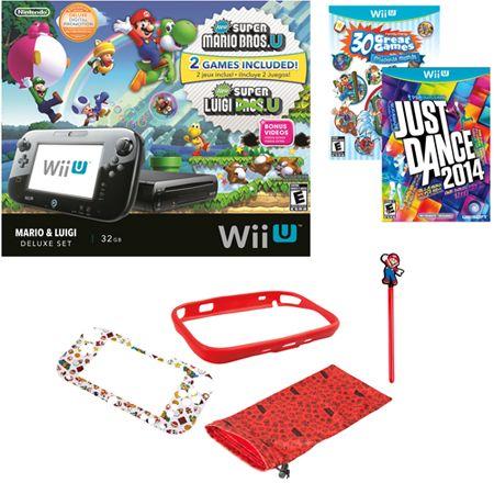 441-894 - Nintendo Wii-U Mario & Luigi Deluxe Gaming System Bundle w/ 2 Extra Games & Starter Accessory Kit
