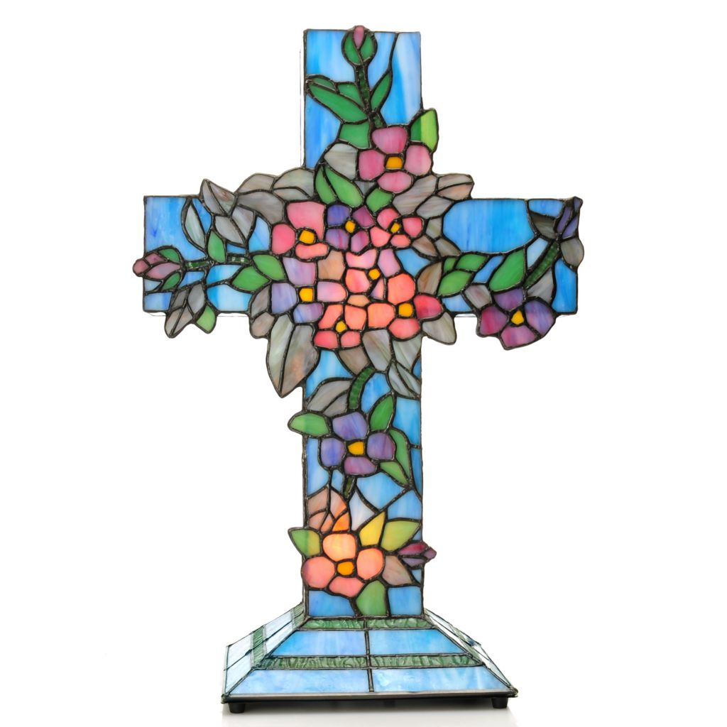 "441-933 - Tiffany-Style 18"" Flowering Dogwood Cross Stained Glass Accent Lamp"