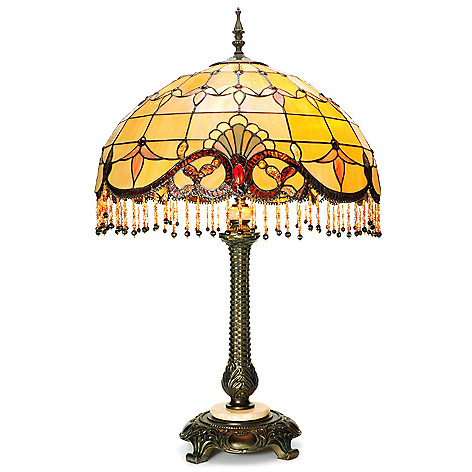 441-935 - Tiffany-Style 31.75'' Beaded Allistar Stained Glass Table Lamp