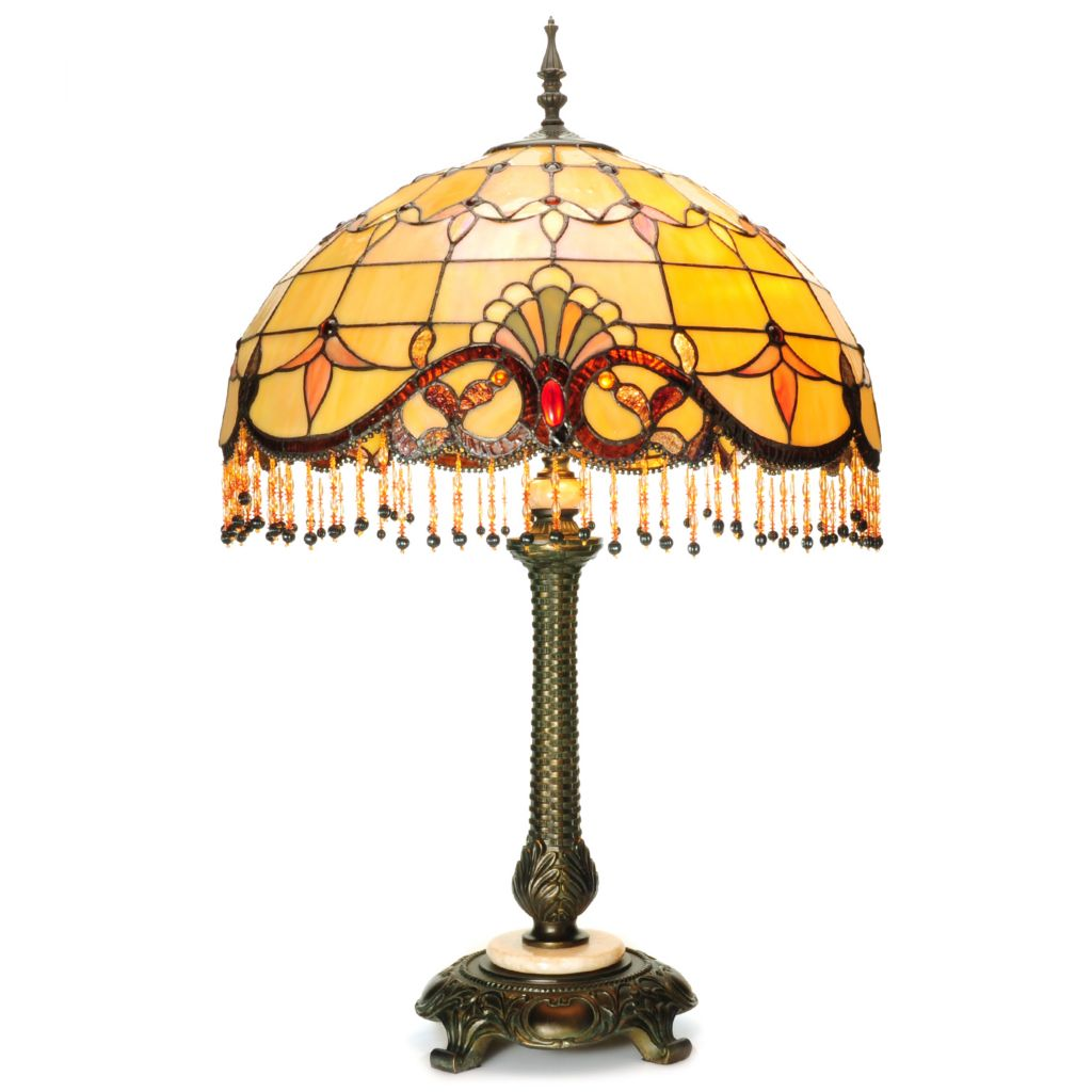 "441-935 - Tiffany-Style 31.75"" Beaded Allistar Stained Glass Table Lamp"