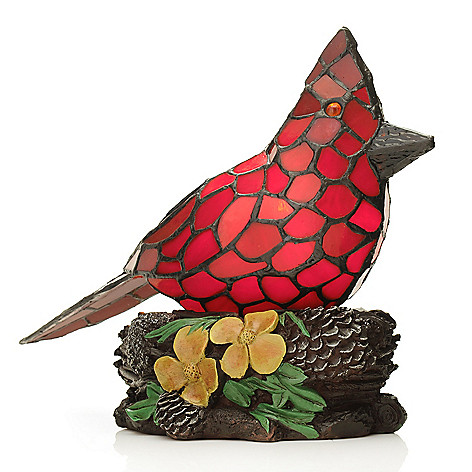 441-936 - Tiffany-Style 9.5'' Cooper's Red Bird Stained Glass Accent Lamp