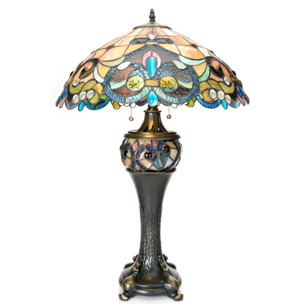 "441-937 - Tiffany-Style 28"" Fleurista Double Lit Stained Glass Table Lamp"