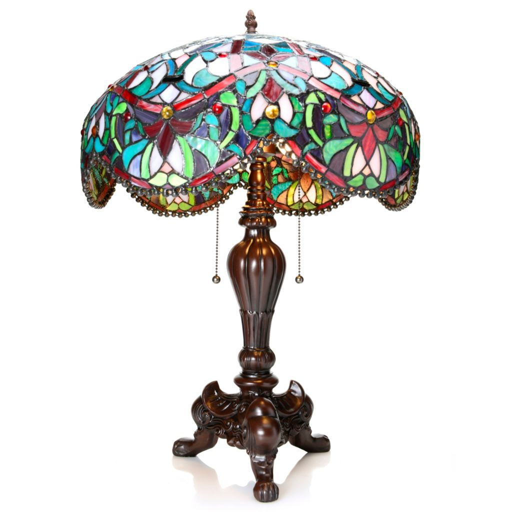 "441-940 - Tiffany-Style 24.25"" Scalloped Ambrosia Stained Glass Footed Table Lamp"