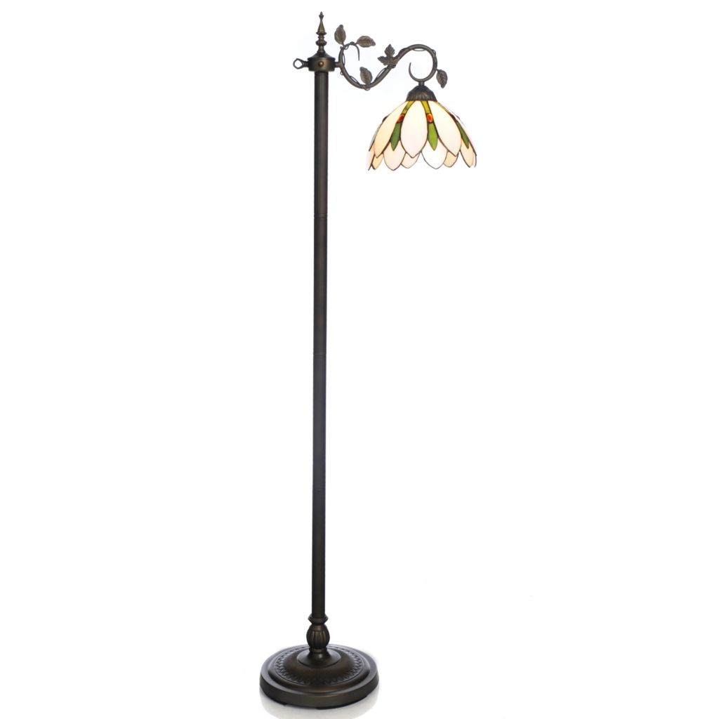 "441-941 - Tiffany-Style 61.5"" Pretty in Ivory Stained Glass Floor Lamp"