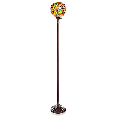 441-942 - Tiffany-Style 72.5'' Autumn Moon Stained Glass Globe-Style Torchiere Lamp