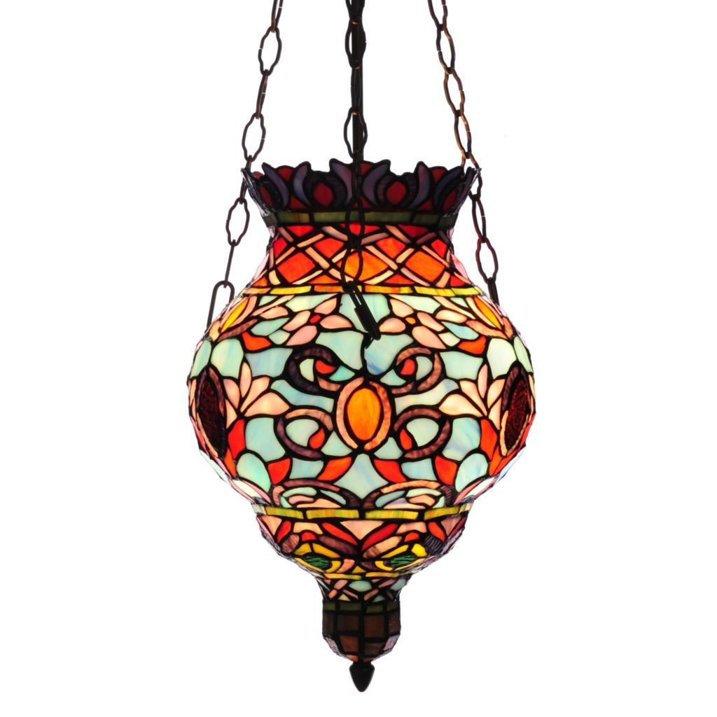 "441-943 - Tiffany-Style 31"" Amaya Stained Glass Hanging Pendant"