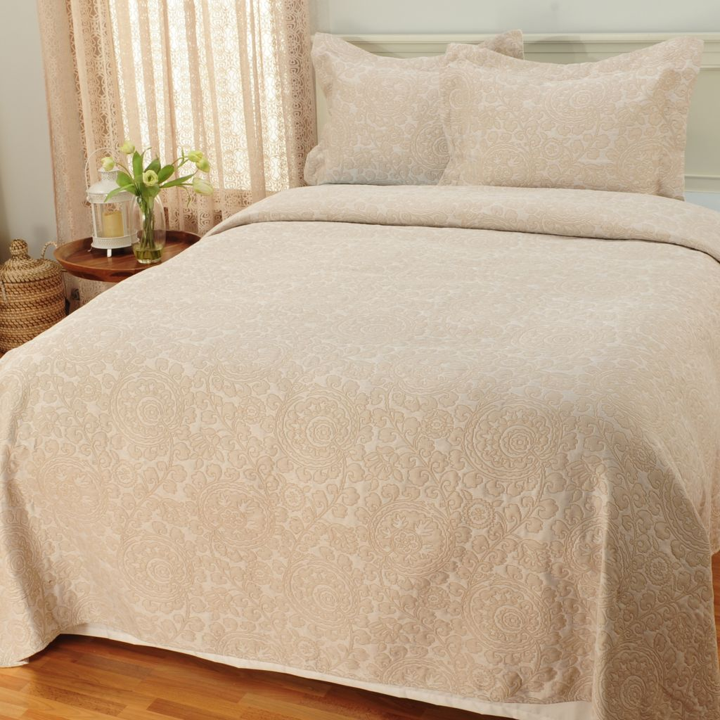 441-975 - North Shore Linens™ Floral Damask Three-Piece Bedspread Set