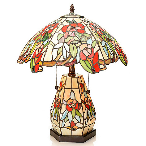 442-013 - Tiffany-Style 19'' Lumis Floral Double Lit Stained Glass Table Lamp