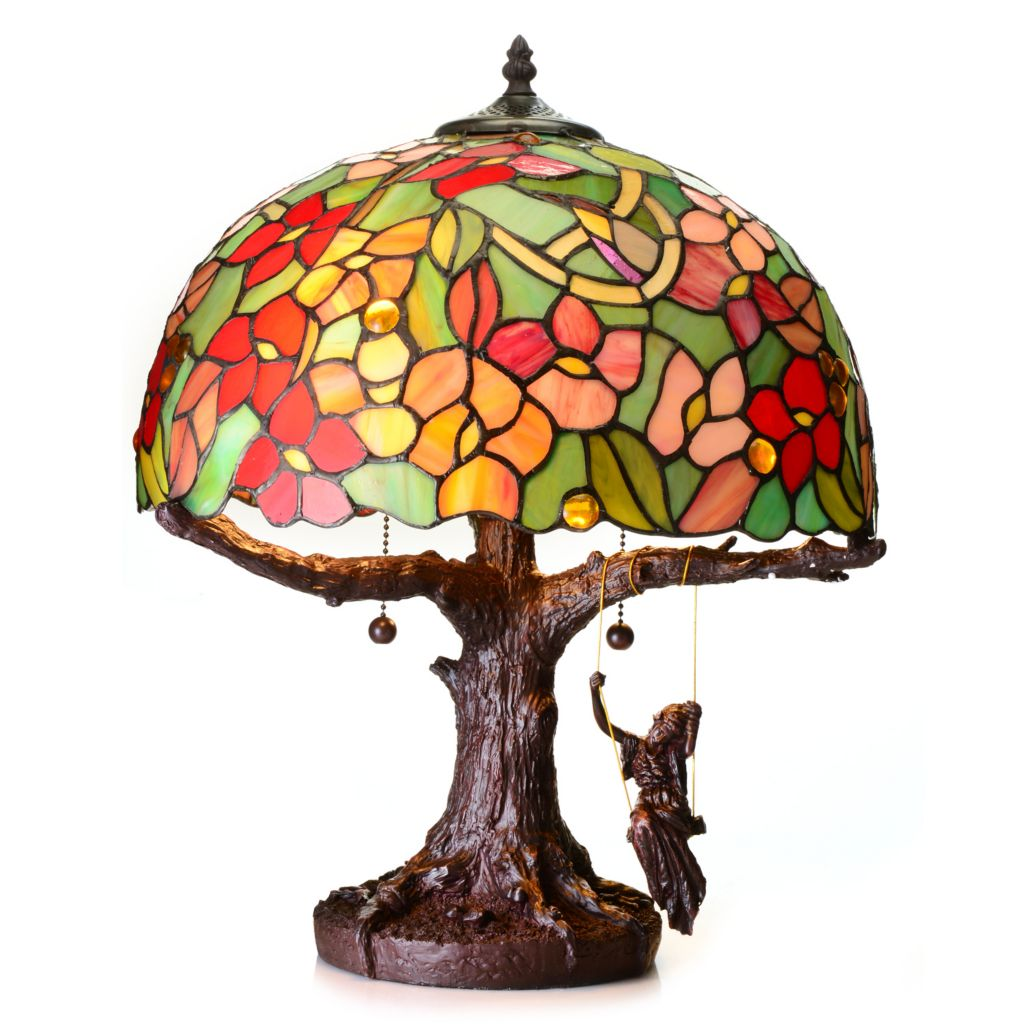 "442-025 - Tiffany-Style 19"" ""Lady Swings on a Tree"" Stained Glass Table Lamp"