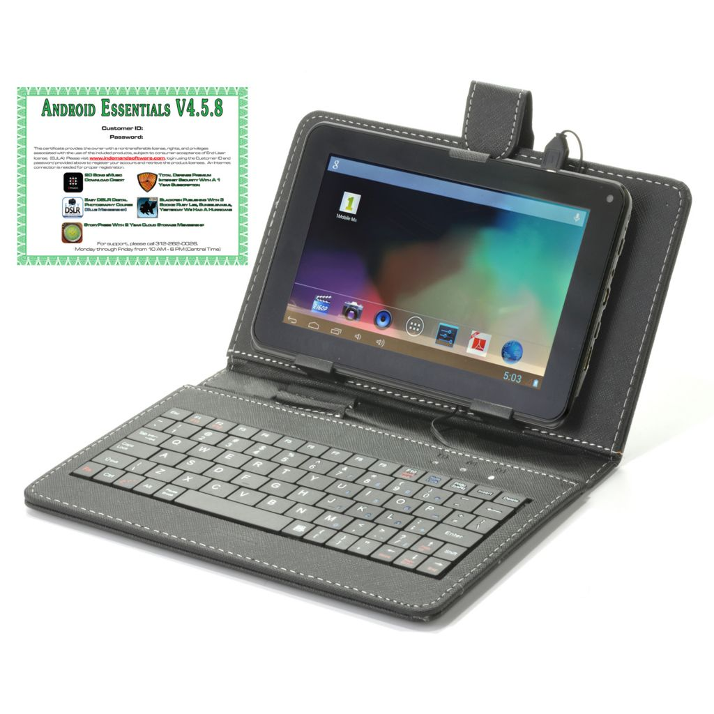 "442-053 - Android™ 4.2 7"" or 9"" Bluetooth® 4GB Dual-Core Tablet w/ Keyboard Case & Software"