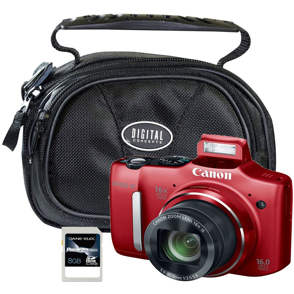 442-070 - Canon PowerShot SX160 IS 16MP 16X Optical Zoom Digital Camera w/ 8GB SD Memory Card & Camera Case