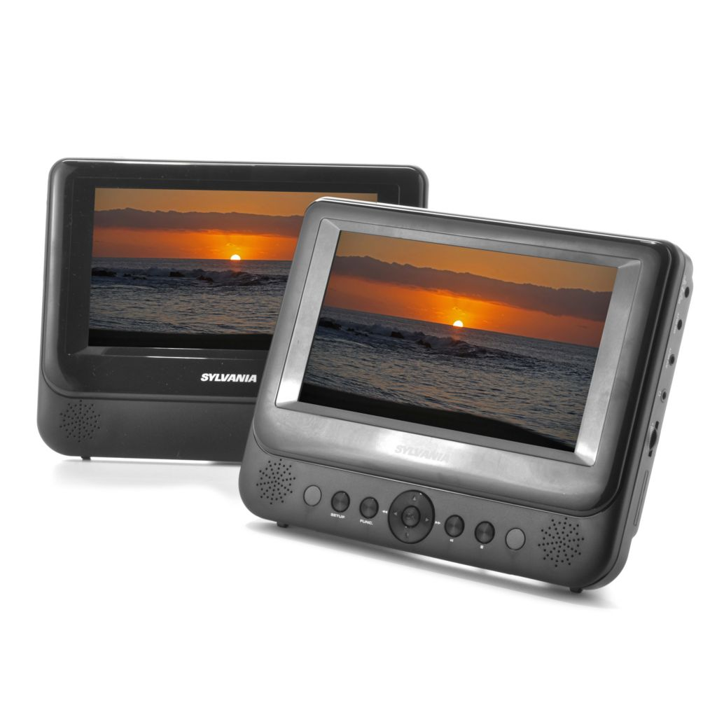 "442-079 - Sylvania 7"" Dual Screen Portable DVD Player w/ Built-in Stereo Speakers"
