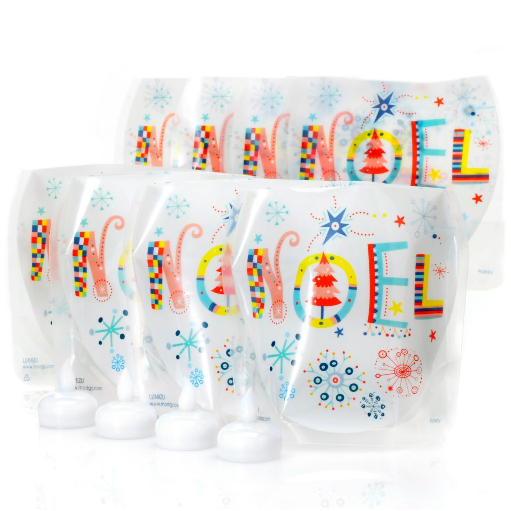 "442-097 - Lumizu™ Set of Eight 6"" Holiday Expandable Luminary Lanterns & 12 LED Lights"