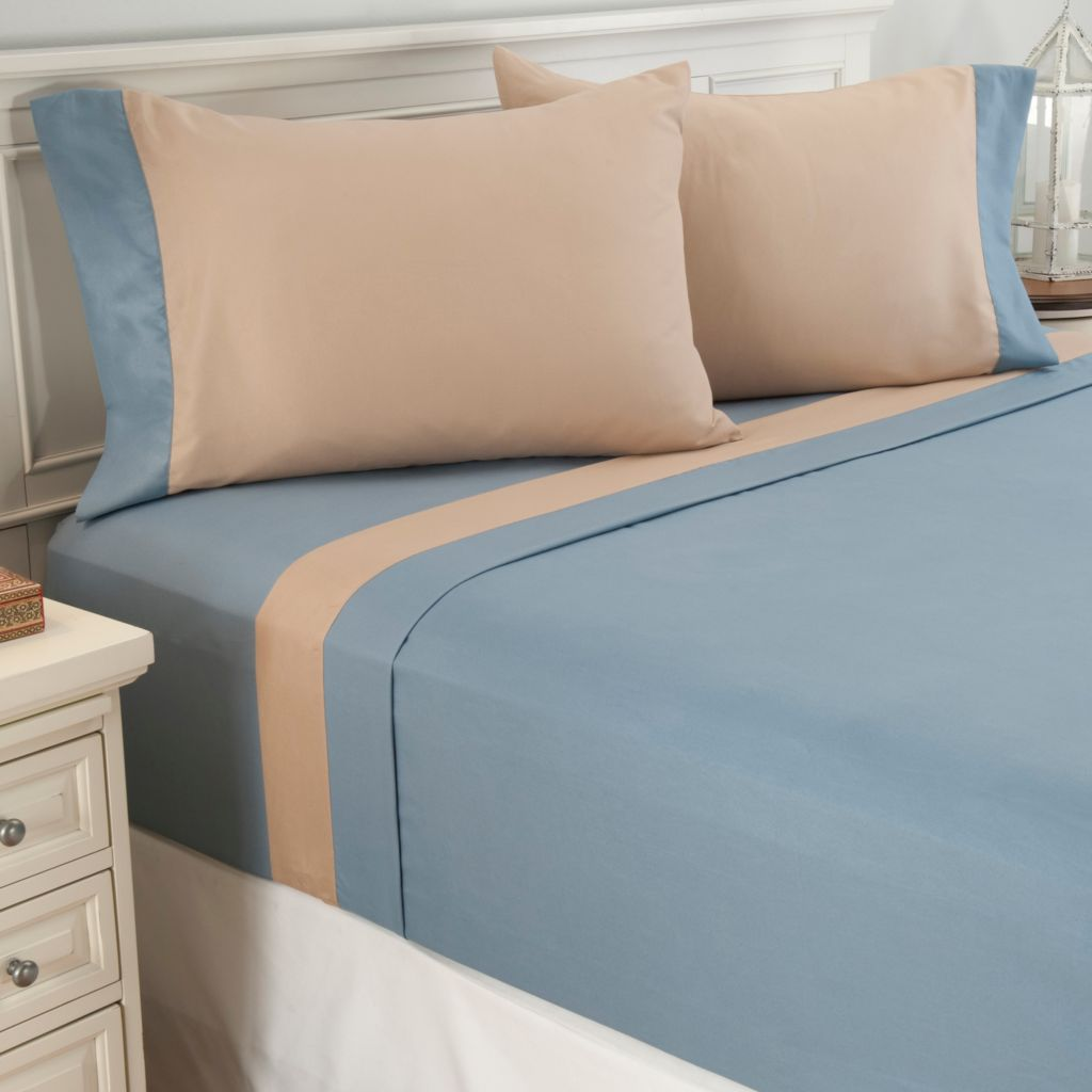 442-100 - Cozelle® Set of Two Microfiber Contrasting Hem Four-Piece Sheet Sets