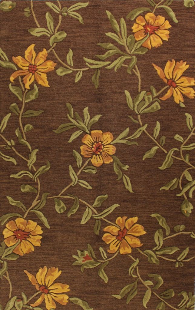 442-137 - Bashian Rugs Verona Collection Floral Burst Wool Pile Hand-Tufted Rug
