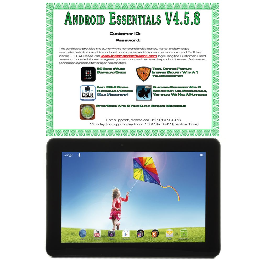 "442-150 - 10.1"" Android™ 4.1 Google Certified 16GB Quad-Core Bluetooth® Tablet w/ Software"