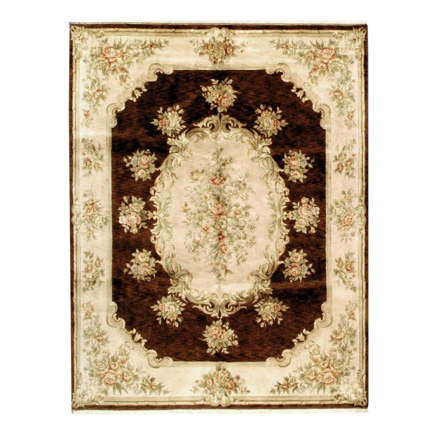 442-187 - Woven Heirlooms Belvoir Brown Floral Hand-Made Rug