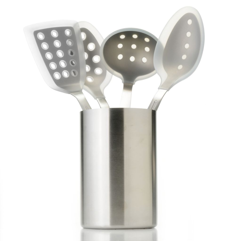 442-224 - Cook's Companion™ Stainless Steel & Silicone Four-piece Kitchen Tool Set w/ Round Canister