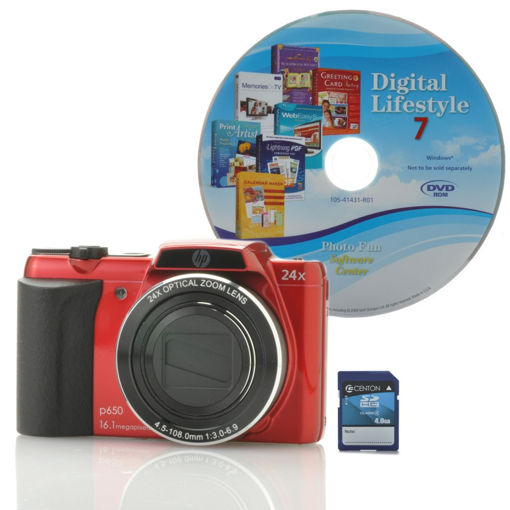 442-238 - HP p650 16.1MP 24X Optical Zoom 720p HD Digital Camera w/ Software