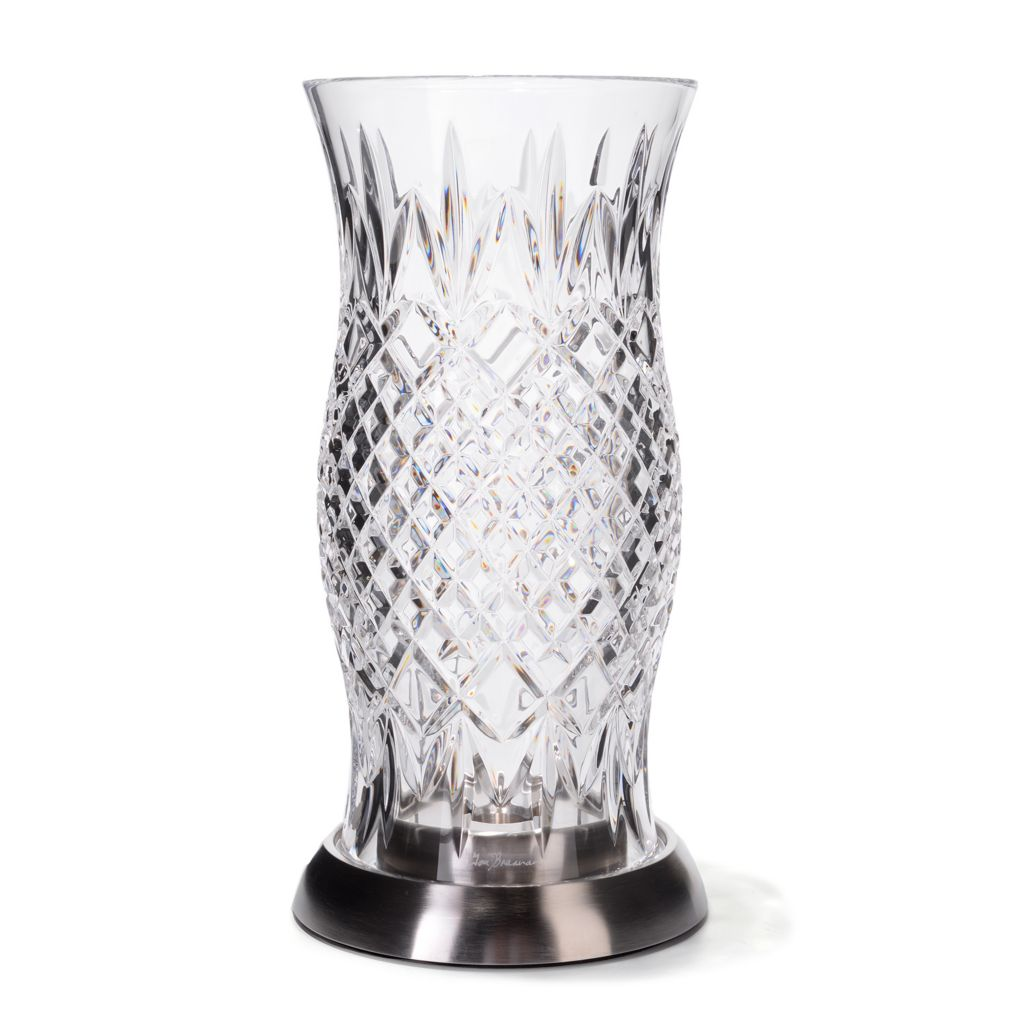 "442-244 - House of Waterford® 12.5"" Crystal Diamond Cut Hurricane -Signed"