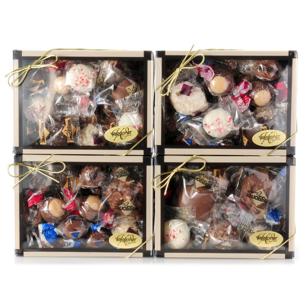 442-248 - Waggoner Chocolate Four 10 oz Boxes of Individually Wrapped Chocolates - Holiday Edition