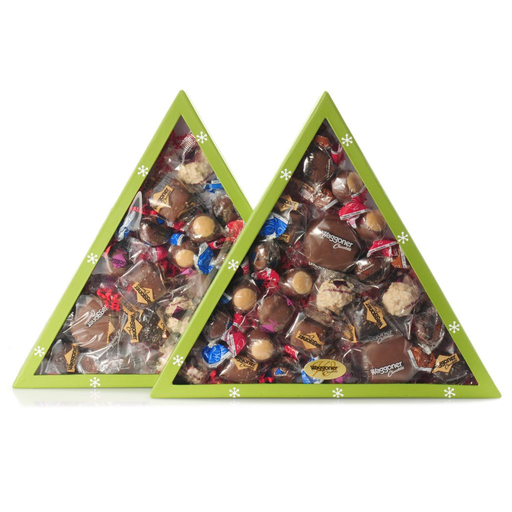 442-250 - Waggoner Chocolate Two 12.75 oz Holiday Tree Boxes of Individually Wrapped Chocolates