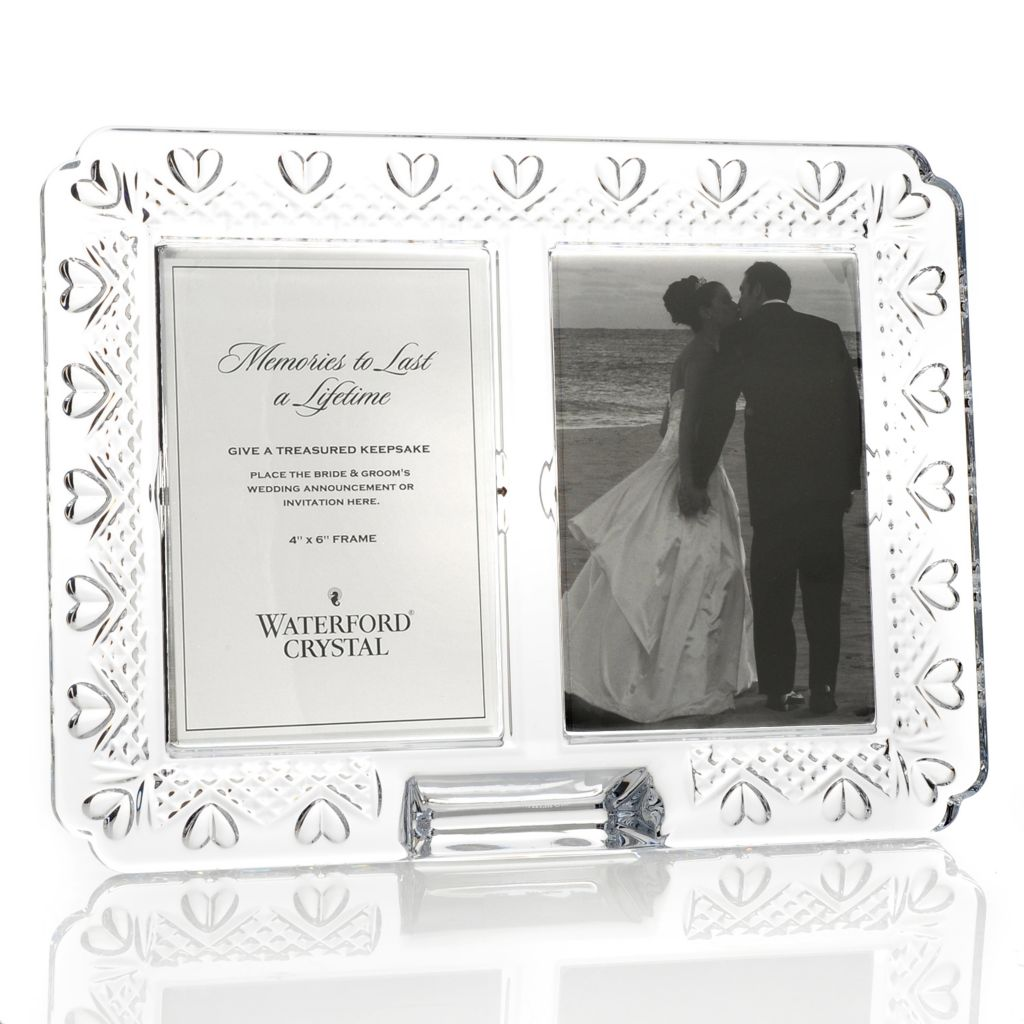 "442-255 - Waterford® Crystal Wedding Announcement 4""x6"" Double Picture Frame"