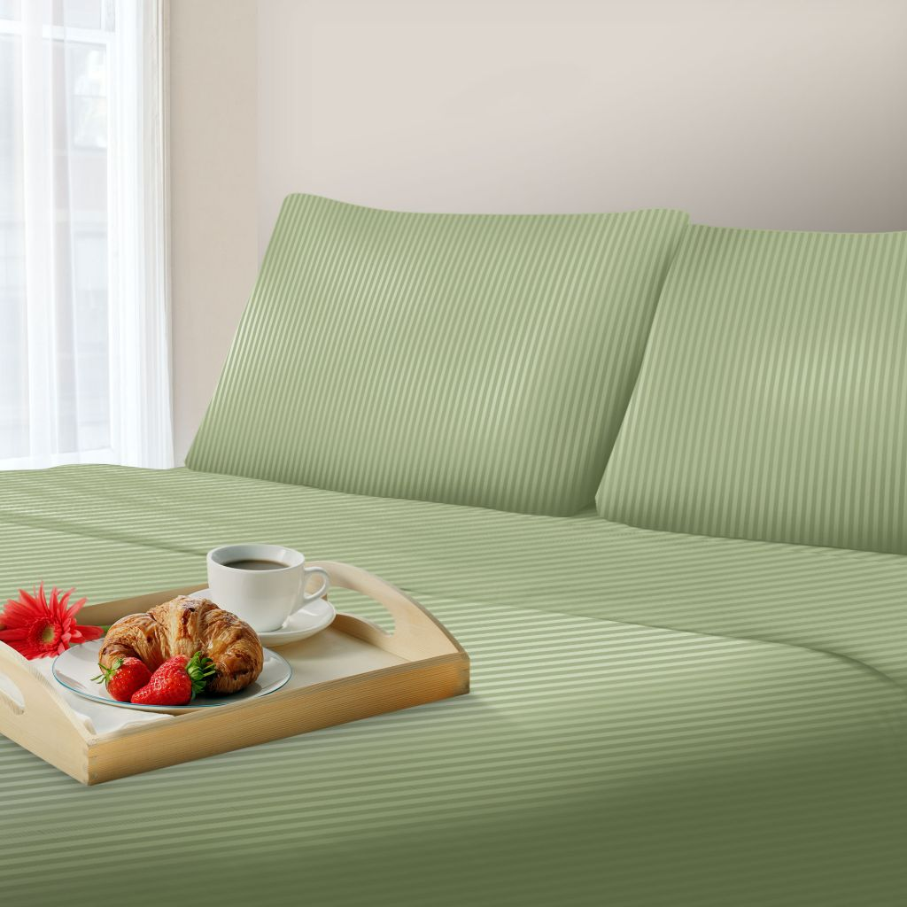 442-274 - Lavish Home 300 Thread Count Tonal Striped Cotton Sateen Blend Sheet Set
