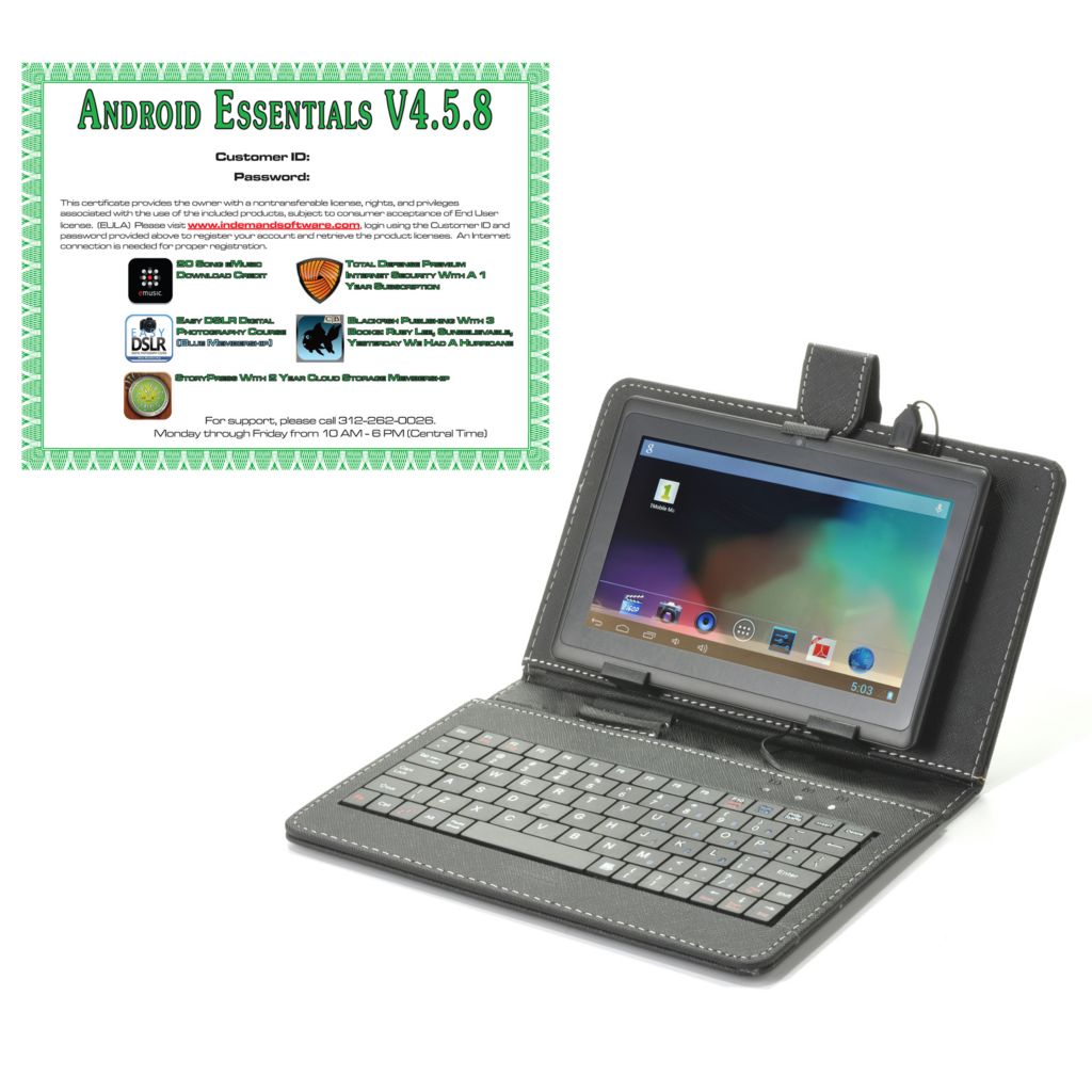"442-277 - Android™ 4.2 7"" LCD 4GB Wi-Fi Tablet w/ Keyboard Case & Software"