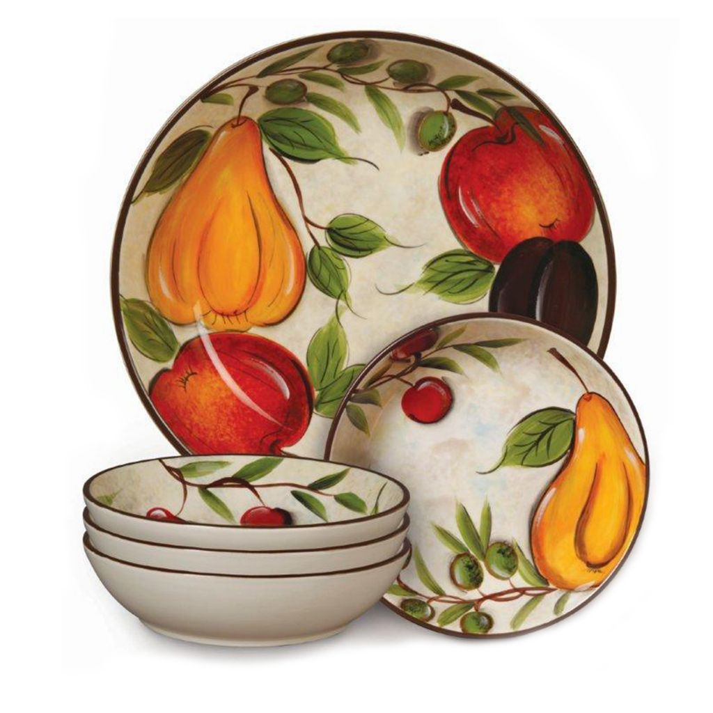 442-312 - Gibson Cafe Naples Five-Piece Pasta Bowl Set