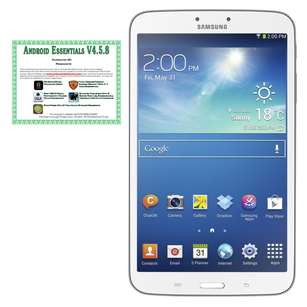 "442-317 - Samsung 7"" Galaxy Tab 3 Google Certified 8GB Wi-Fi Tablet w/ Software"