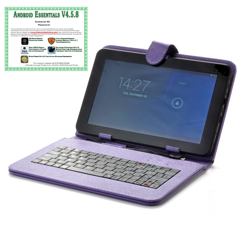 "442-345 - 9"" Android® 4.2 4GB Dual-Core Tablet + Keyboard w/ Software & Google Play"