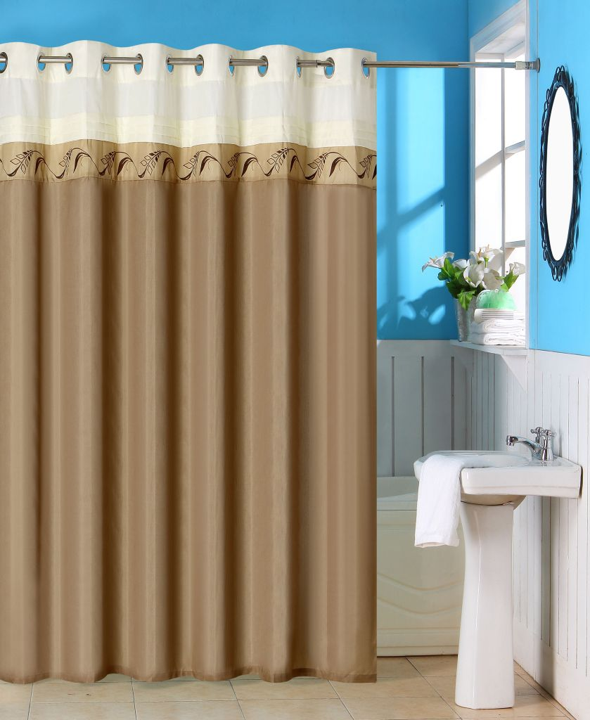 442-366 - Lavish Home Abilene Embroidered Shower Curtain w/ Grommets