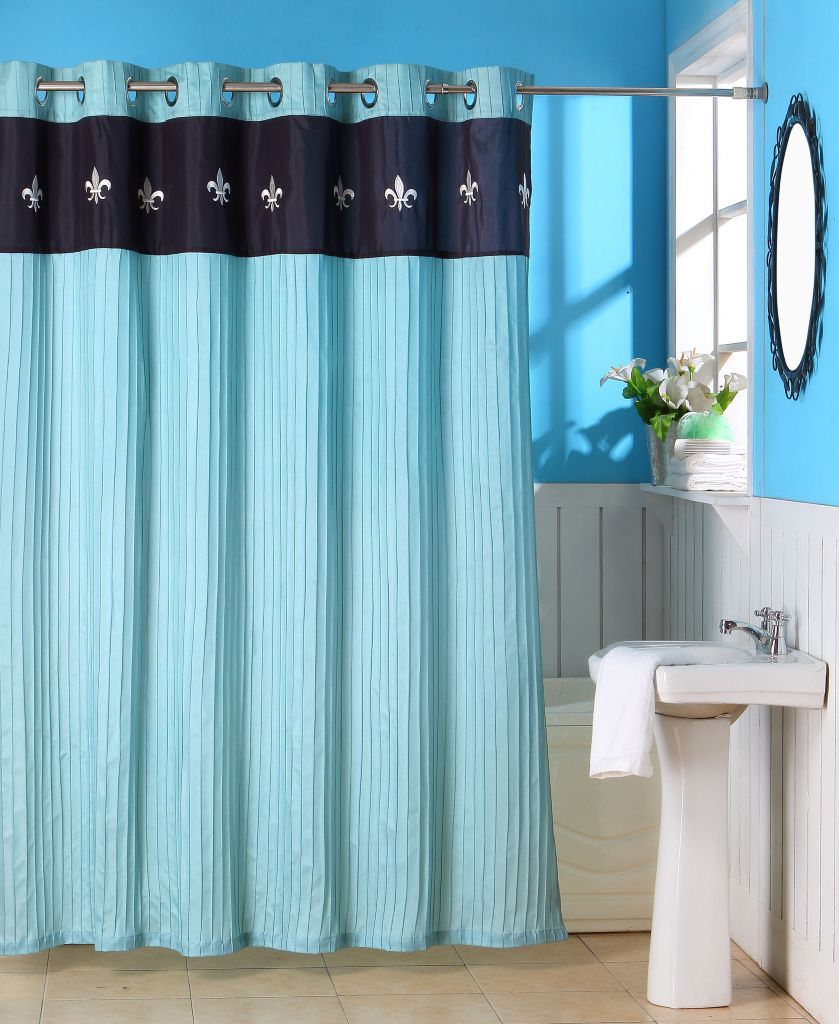 442-369 - Lavish Home Meridian Embroidered Shower Curtain w/ Grommets