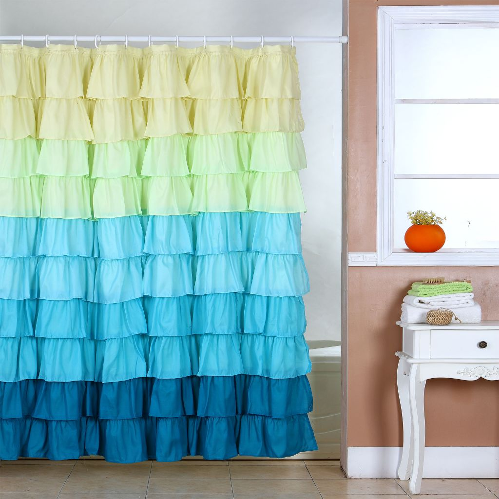 442-375 - Lavish Home Ruffle Shower Curtain w/ Buttonhole Top