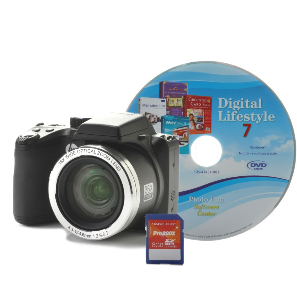 442-378 - HP 14.1MP 36X Optical Zoom Digital Camera w/ 8GB SD Card & Software