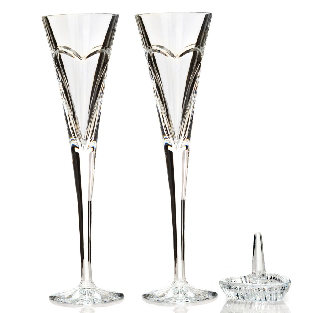 "442-437 - Waterford® Crystal Wishes ""Love & Romance"" 5 oz Flute Pair & Ring Holder"