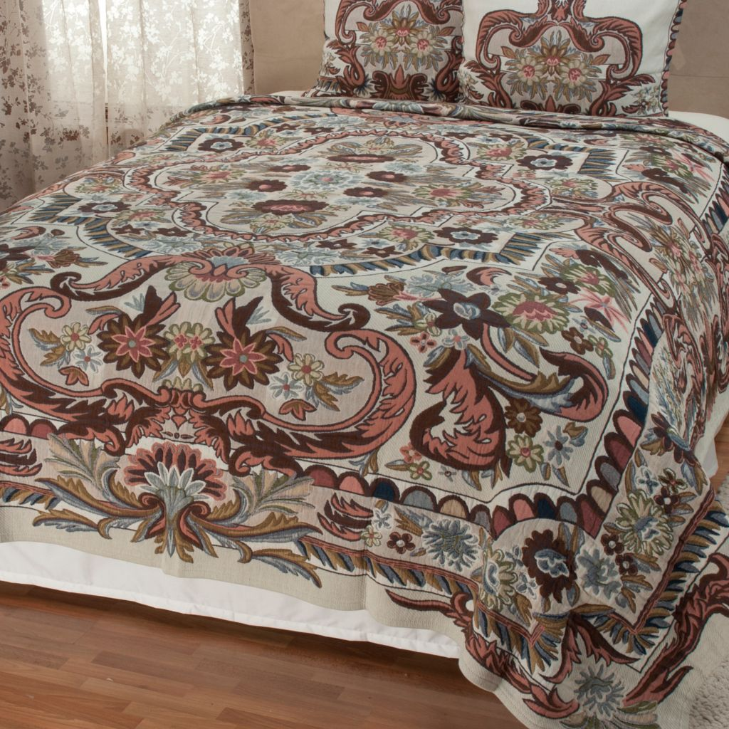 442-478 - North Shore Linens™ Floral Jacquard Tapestry 100% Cotton Coverlet