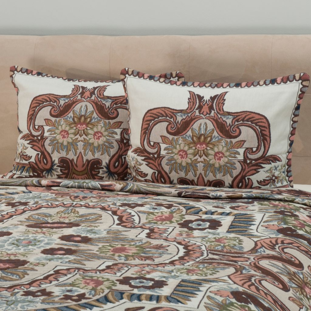 442-479 - North Shore Linens™ Floral Jacquard Tapestry 100% Cotton Sham Pair