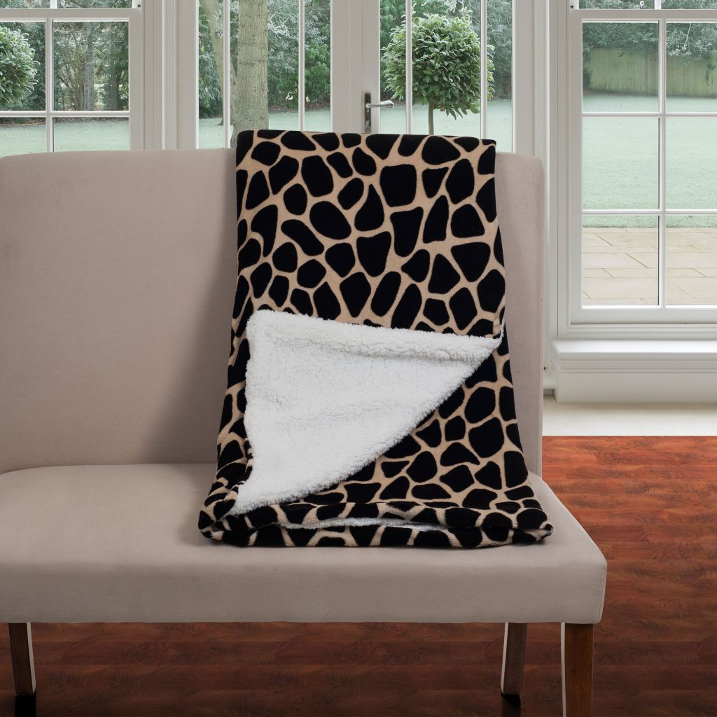 442-488 - Lavish Home Fleece Animal Print Blanket with Sherpa Backing
