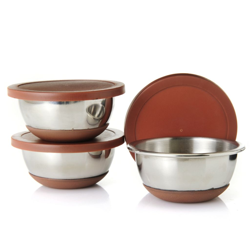 442-519 - Cook's Companion™ Set of Three Stainless Steel Pinch Bowls w/ Lids