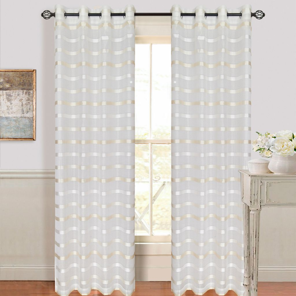 442-530 - Lavish Home Arla Curtain Panels w/ Grommets - Set of Two