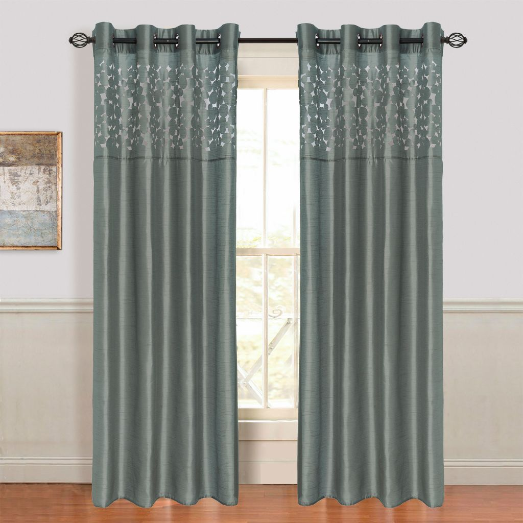442-531 - Lavish Home Karla Laser-Cut Grommet Curtain Panels - Set of Two