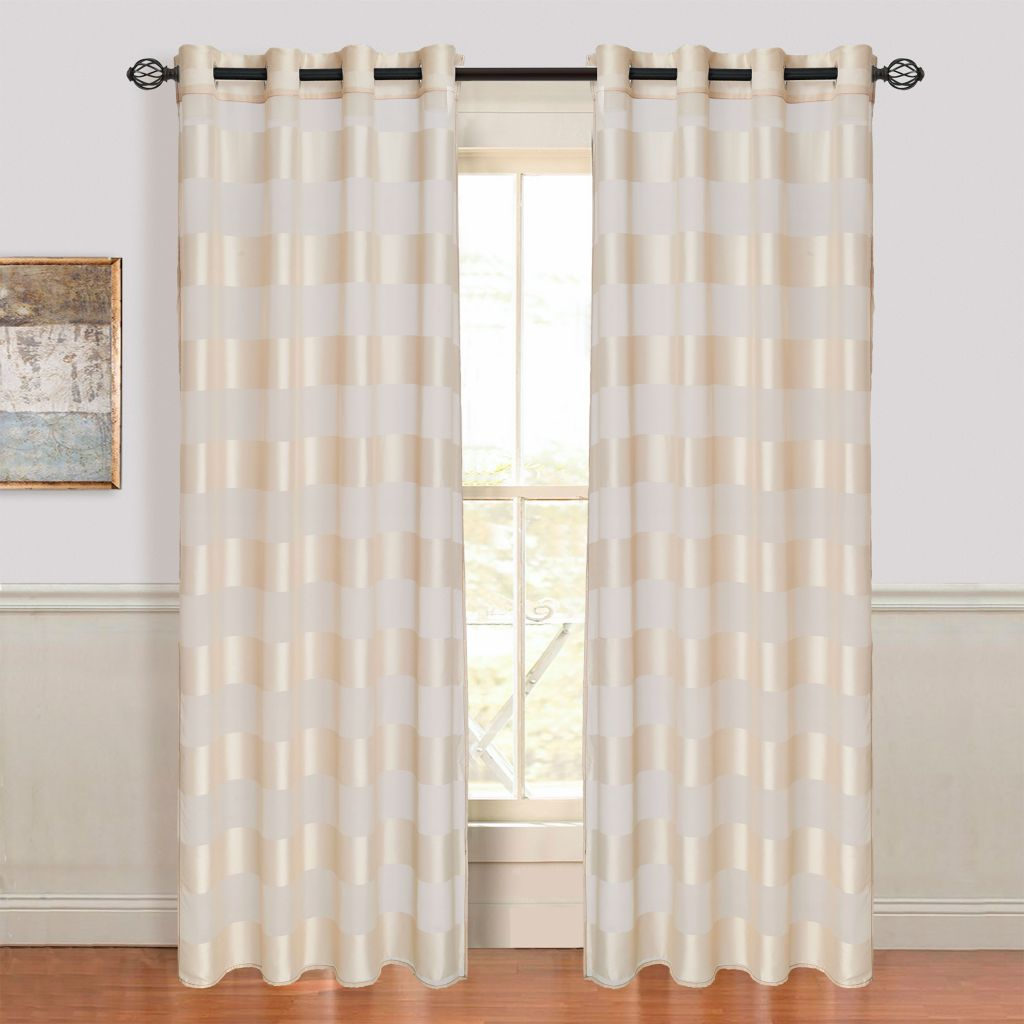 442-535 - Lavish Home Sofia Curtain Panels w/ Grommets - Set of Two